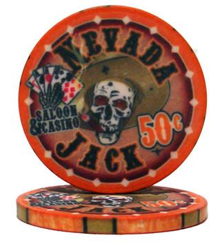 Roll of 25 - .50¢ (cent) Nevada Jack 10 Gram Ceramic Po