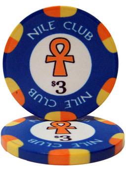 Roll of 25 - $3 Nile Club 10 Gram Ceramic Poker Chip