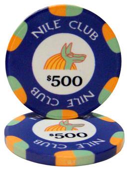 Roll of 25 - $500 Nile Club 10 Gram Ceramic Poker Chip