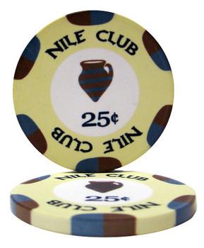 Roll of 25 - .25¢ (cent) Nile Club 10 Gram Ceramic Poke