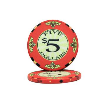 Roll of 25 - $5 Scroll 10 Gram Ceramic Poker Chip