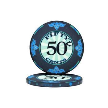 Roll of 25 - .50¢ (cent) Scroll 10 Gram Ceramic Poker C