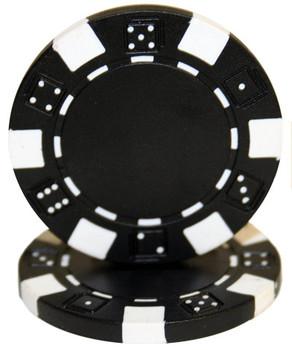 Roll of 25 - Striped Dice 11.5 gram - Black