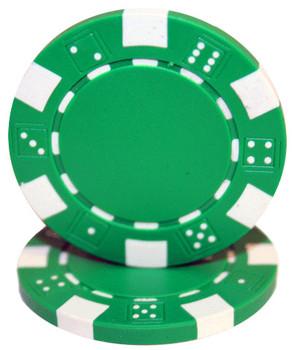 Roll of 25 - Striped Dice 11.5 gram - Green