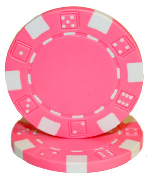 Roll of 25 - Striped Dice 11.5 gram - Pink
