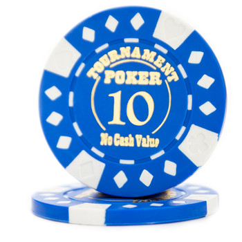Roll of 25 - Blue - Tournament Hot Stamp Poker Chips 12.5g