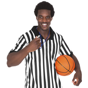 Men's Official Black & White Stripe Referee/Umpire Jersey L