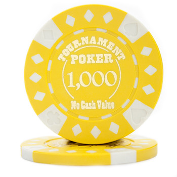 Roll of 25 - Yellow - Tournament Hot Stamp Poker Chips 12.5g