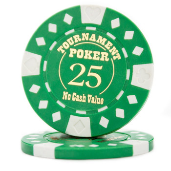 Roll of 25 - Green - Tournament Hot Stamp Poker Chips 12.5g