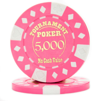 Roll of 25 - Pink - Tournament Hot Stamp Poker Chips 12.5g