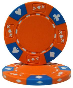Orange - Ace King Suited 14 Gram Poker Chips