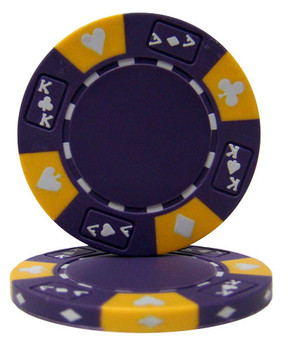 Purple - Ace King Suited 14 Gram Poker Chips