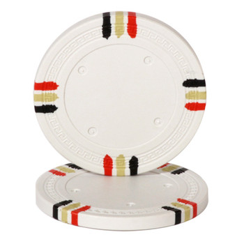 White Blank Claysmith 12 Stripe Poker Chip - 13.5 grams