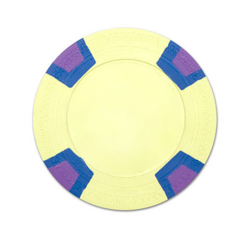 Yellow Blank Claysmith Double Trapezoid Poker Chip - 10g