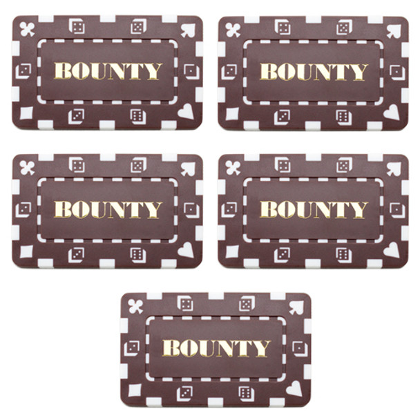 5 Denominated Poker Plaques Brown BOUNTY