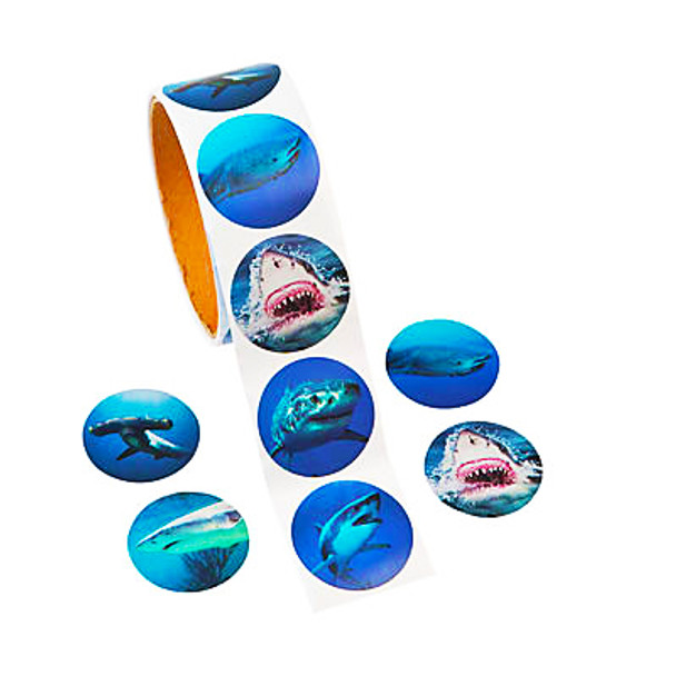 Roll of 100 perforated shark stickers featuring realistic photos of Great White, Hammerhead, Tiger, Bull, Whale, and Reef sharks