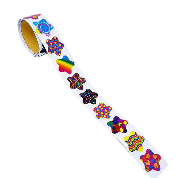 Roll of 100 funky star stickers featuring nine designs of large swirls, small swirls, wavy stripes, floating circles, mini stars, confetti, laser beams, flower power smiley faces, and a rainbow gradient