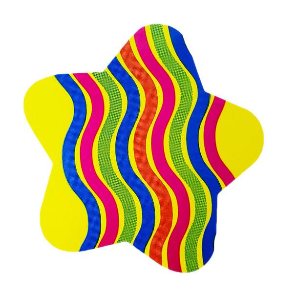 Funky Star Sticker with Wavy Stripes