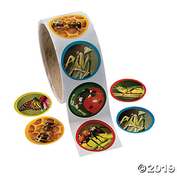 Roll of 100 realistic bug stickers featuring six detailed insect photos of an ant, a honey bee, a ladybug, a monarch butterfly, a grasshopper, and a praying mantis
