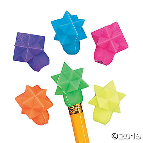 Assortment of 3D star pencil top erasers in blue, green, purple, pink, yellow, and orange