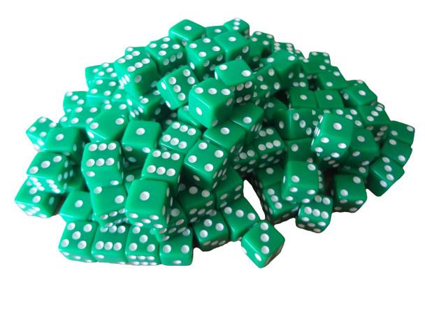 20 Transparent Green w// White Pip Bunco Gaming Dice Set 16mm D6 Yahtzee Quality