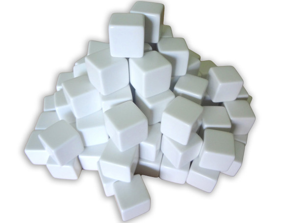 16mm Blank White Dice