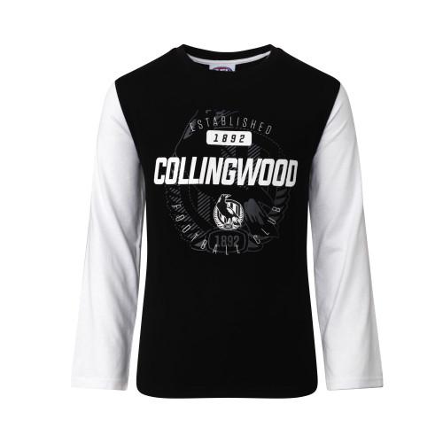 Collingwood Kids Supporter Long Sleeve Tee