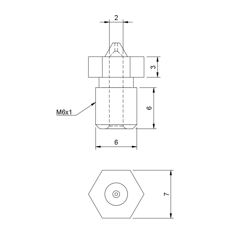 RepRap M6 Tungsten Carbide Nozzle - 3D Printing Canada
