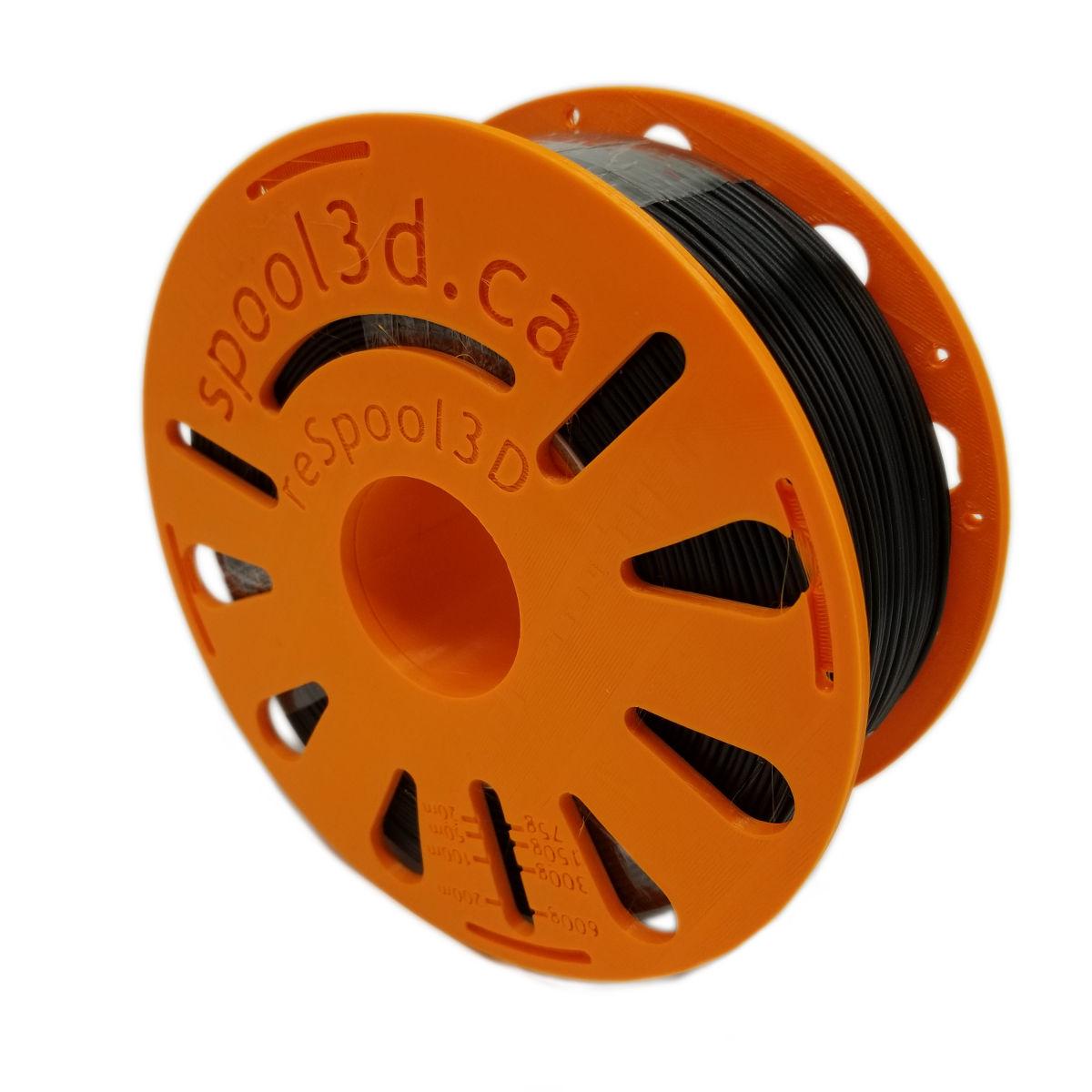 Black 1.75mm PETG 3D Printer Filament reSpool3D Masterspool Refill Coil - 3D Printing Canada