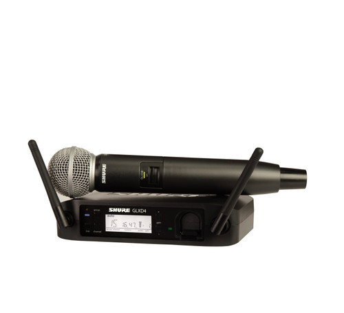 Shure GLXD24/SM58 (Z2) Wireless Handheld System Front with Mic