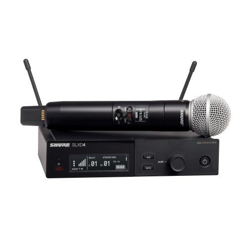 Shure SLXD24/SM58 Wireless Handheld Microphone System Front with Handheld Wireless Microphone