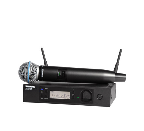 Shure GLXD24R/B58A (Z2) Wireless Handheld System Front with Handheld Wireless Microphone