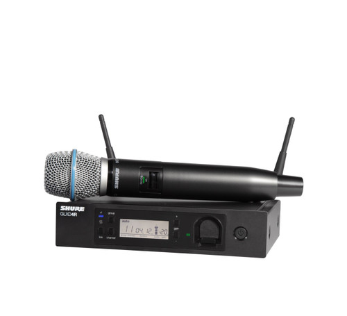 Shure GLXD24R/B87A (Z2) Wireless Handheld System Front with Handheld Wireless Microphone