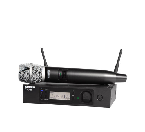 Shure GLXD24R/SM86 (Z2) Wireless Handheld System Front with Handheld Wireless Microphone