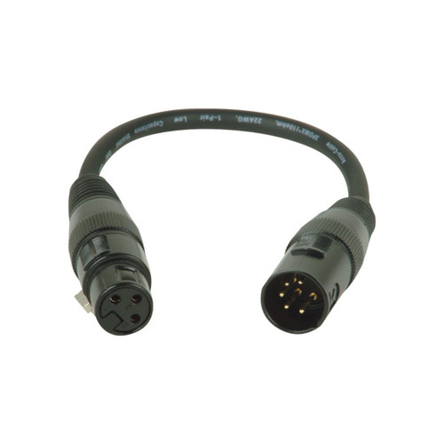 Accu-Cable AC5PM3PFM 5 Pin Male to 3 Pin Female DMX Cable, 11""