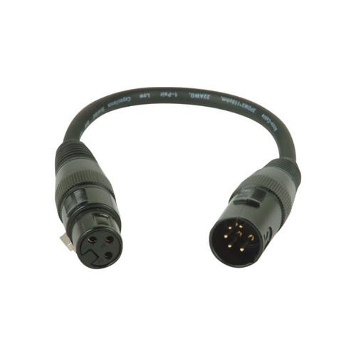 "Accu-Cable AC5PM3PFM 5 Pin Male to 3 Pin Female DMX Cable, 11"""