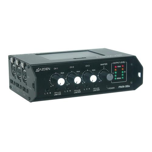 Azden FMX-32a 3-Channel Portable Audio Mixer top right