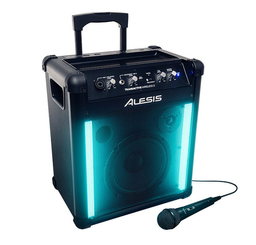 Alesis TransActive Wireless 2 Portable Rechargeable Bluetooth Speaker blue with mic