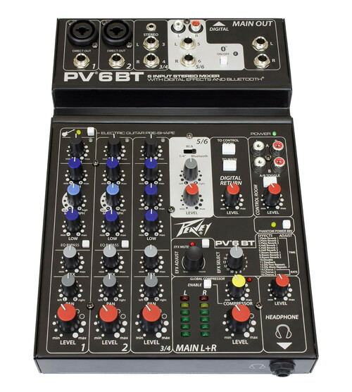 Peavey PV 6BT 6-Channel Compact Analog Mixer
