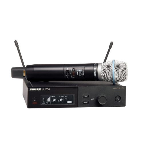 Shure SLXD24/B87A Wireless Handheld Microphone System Front with Handheld Wireless Mic