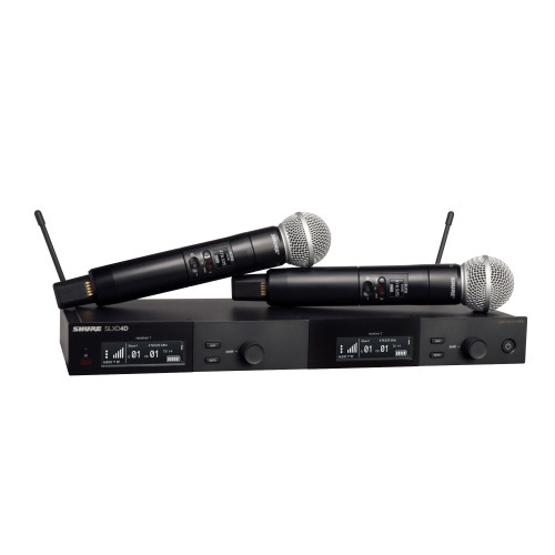 Shure SLXD24D/SM58 Handheld Dual Wireless System Front With Dual Handheld Wireless Mics