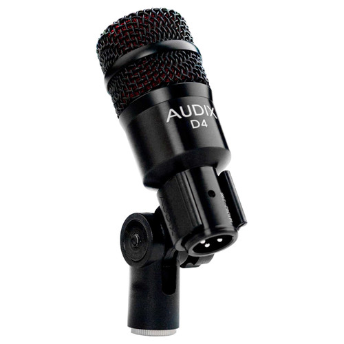 Audix D4 Dynamic Instrument Microphone With Stand mounted