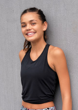 Teen Signature Tie Up Tank-Black