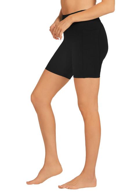 Bella Dual Pocket Mid-Thigh Tight-Black