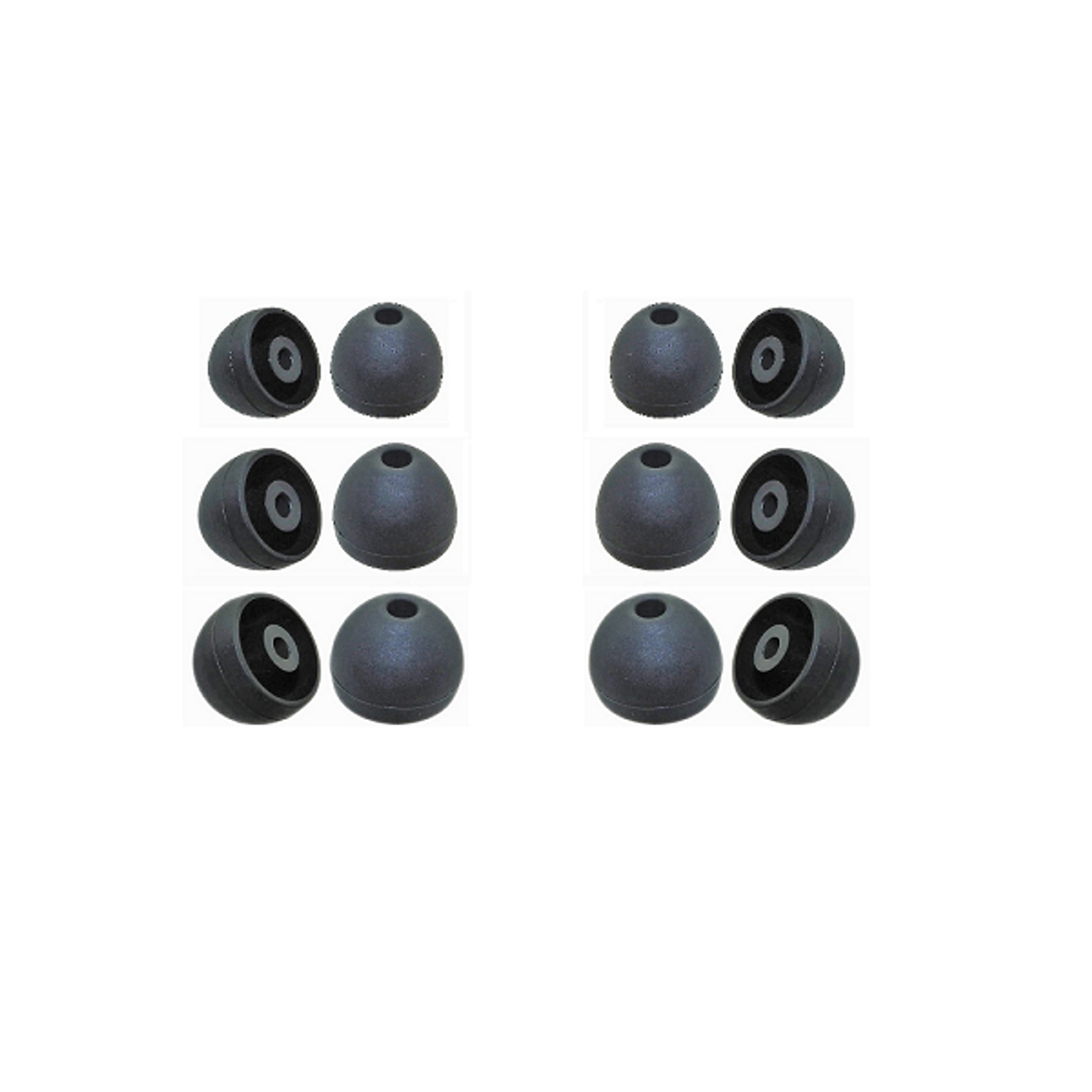 6x UNIVERSAL SILICONE EARPHONE TIPS REPLACEMENT SPARE EARBUDS IN-EAR BLACK MIXED