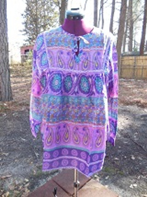 Purple Indian Print Peasant Top (XL)