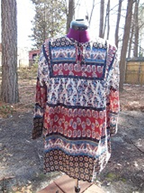 Blue & Red Indian Print Peasnat Top (XL)