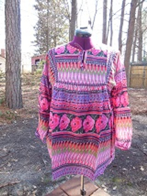 Hot Pink Indian Print Peasant top (XL)