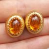 Mandarin Garnet Cabochon Bianca Earrings