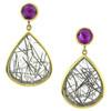 Grape Garnet and Tourmalinated Quartz Earrings